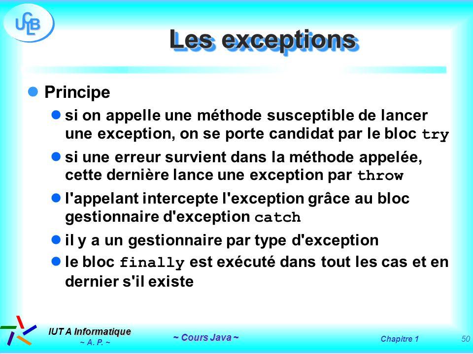 Les exceptions Principe
