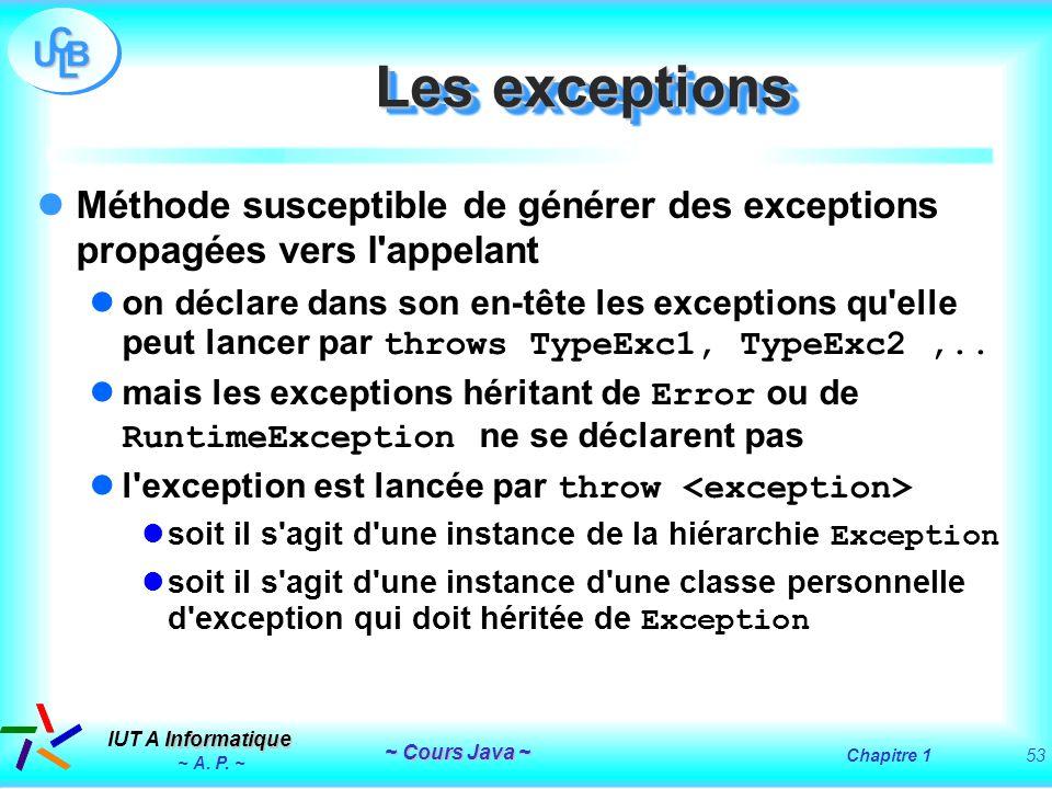 Les exceptions Méthode susceptible de générer des exceptions propagées vers l appelant.