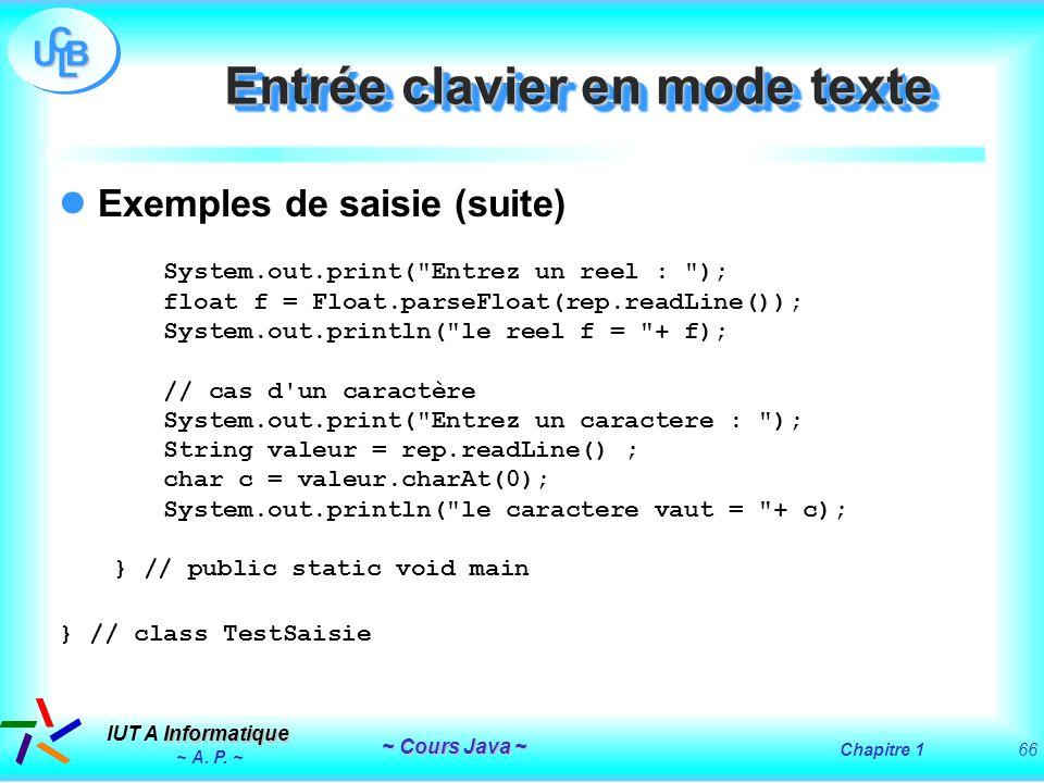 Entrée clavier en mode texte