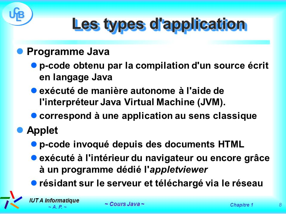 Les types d application