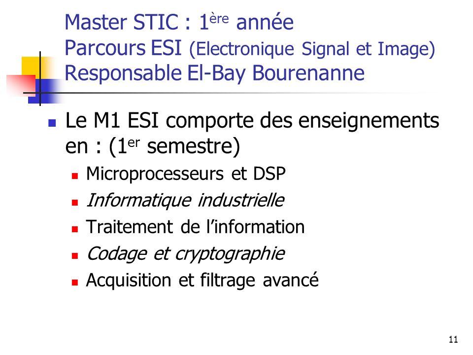Le M1 ESI comporte des enseignements en : (1er semestre)