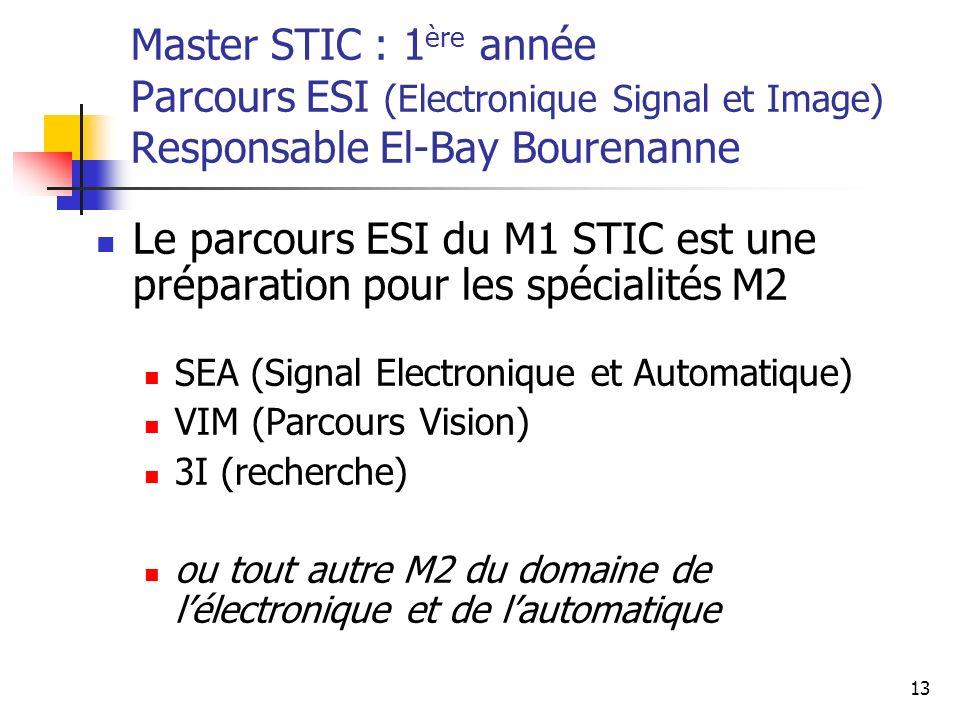 Le parcours ESI du M1 STIC est une préparation pour les spécialités M2