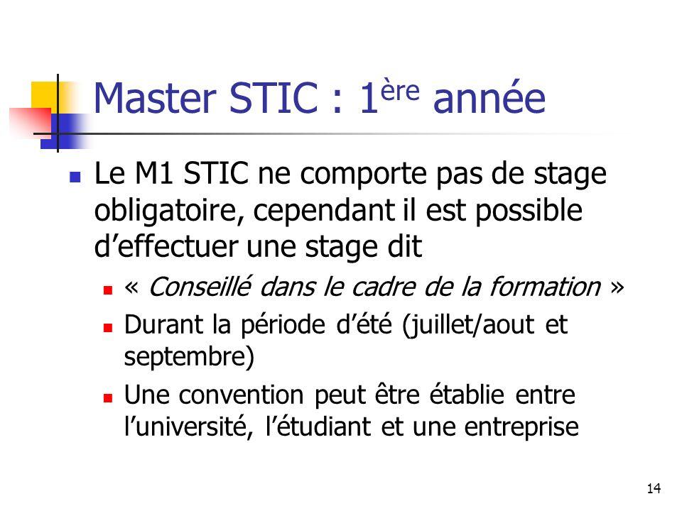 Master STIC : 1ère année Le M1 STIC ne comporte pas de stage obligatoire, cependant il est possible d'effectuer une stage dit.