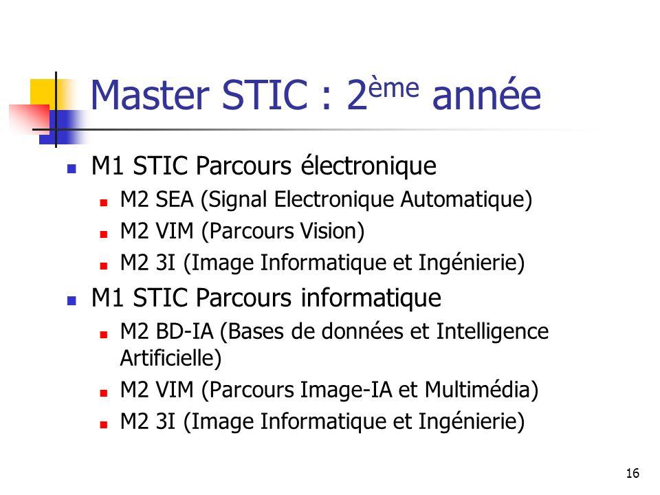 Master STIC : 2ème année M1 STIC Parcours électronique