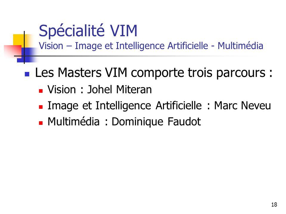 Spécialité VIM Vision – Image et Intelligence Artificielle - Multimédia