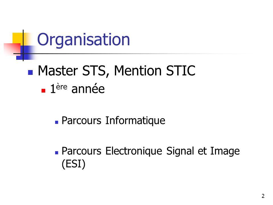 Organisation Master STS, Mention STIC 1ère année Parcours Informatique