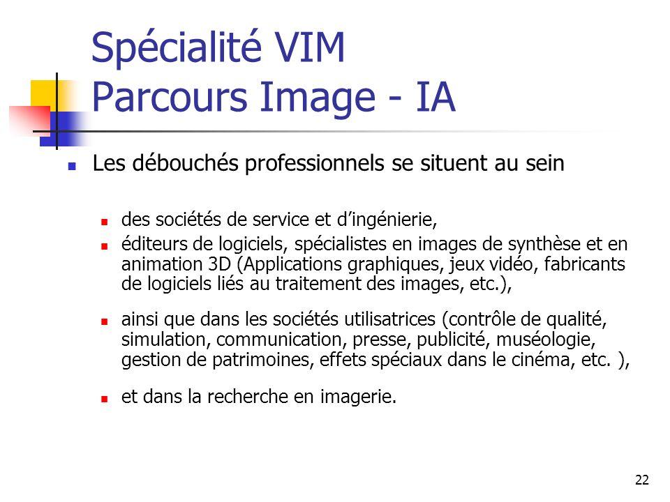 Spécialité VIM Parcours Image - IA