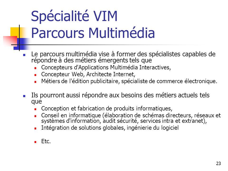 Spécialité VIM Parcours Multimédia