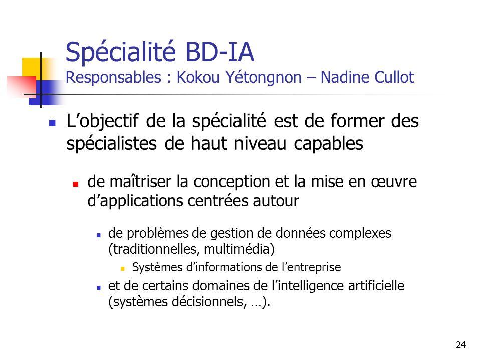 Spécialité BD-IA Responsables : Kokou Yétongnon – Nadine Cullot