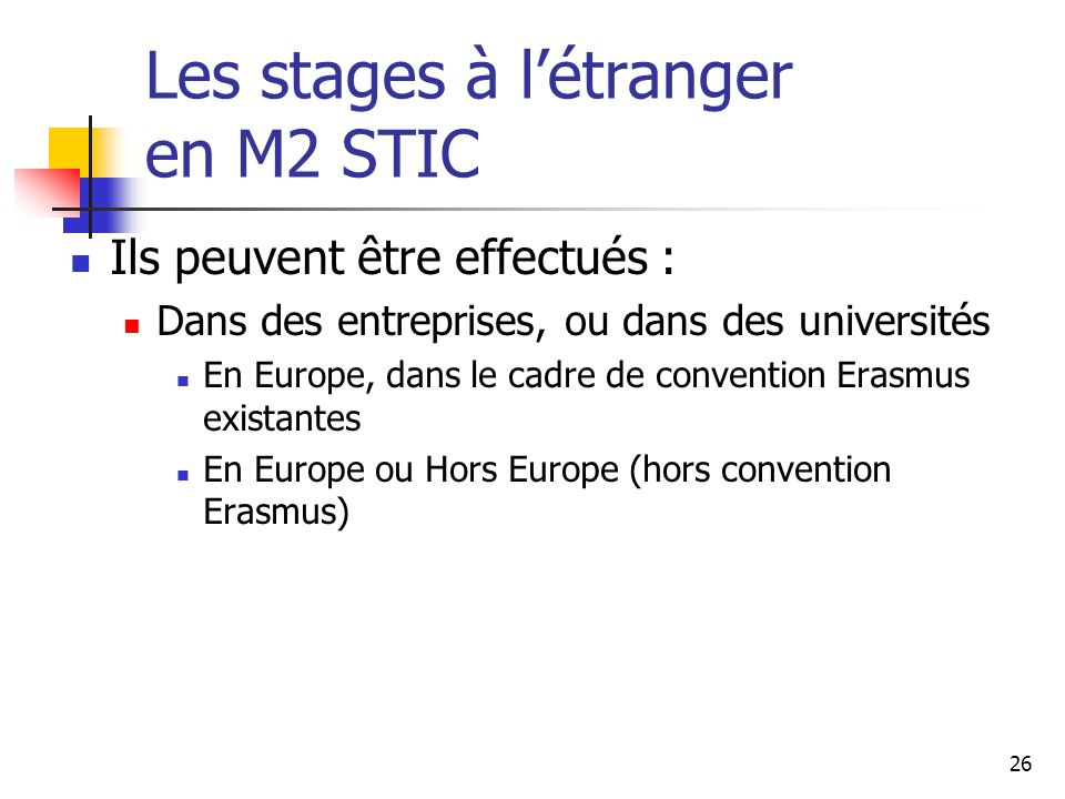 Les stages à l'étranger en M2 STIC