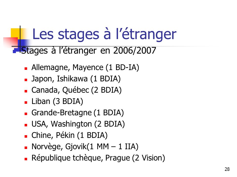 Les stages à l'étranger