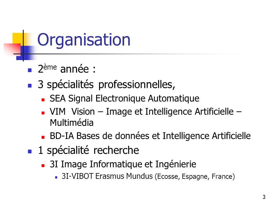 Organisation 2ème année : 3 spécialités professionnelles,