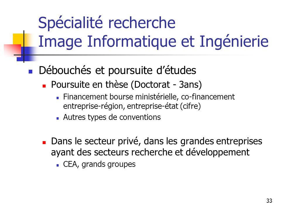 Spécialité recherche Image Informatique et Ingénierie