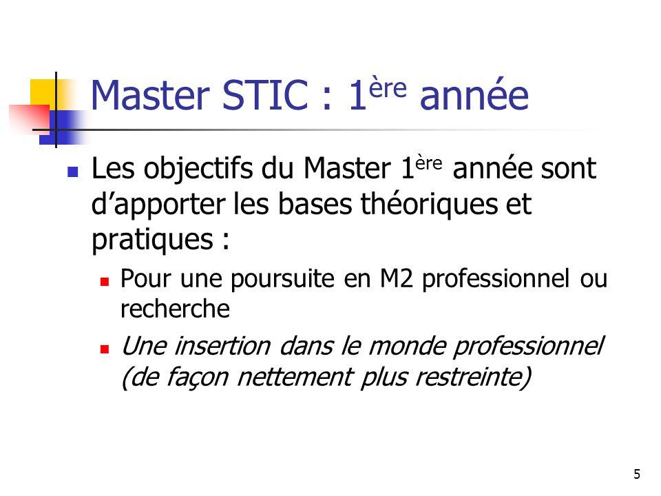 Master STIC : 1ère année Les objectifs du Master 1ère année sont d'apporter les bases théoriques et pratiques :