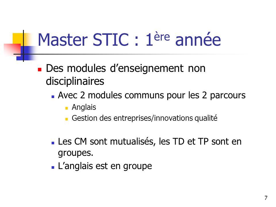 Master STIC : 1ère année Des modules d'enseignement non disciplinaires