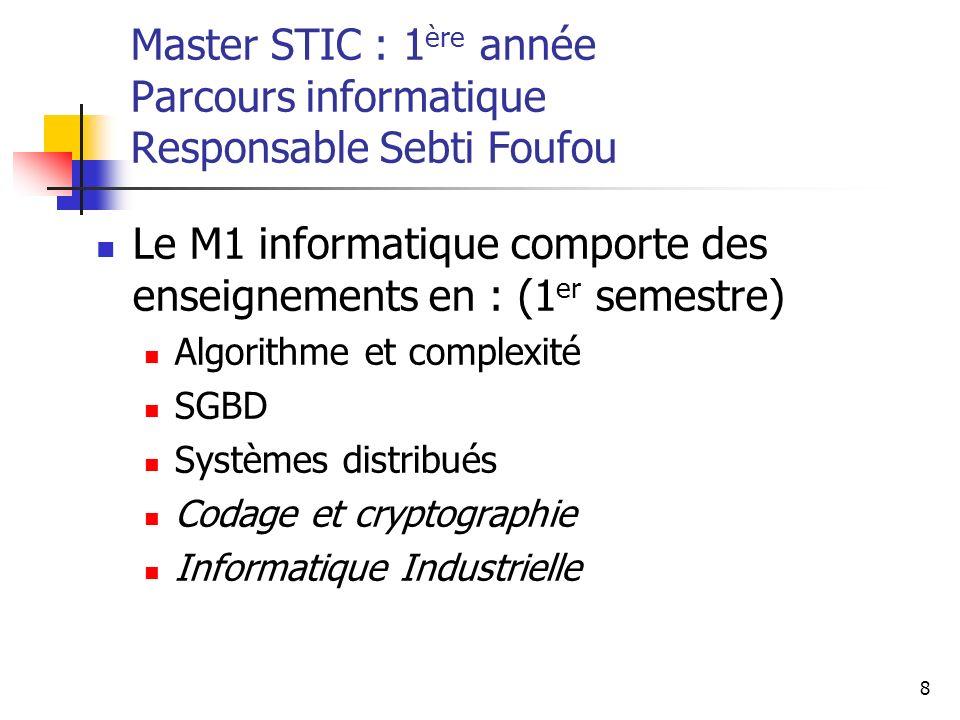 Le M1 informatique comporte des enseignements en : (1er semestre)