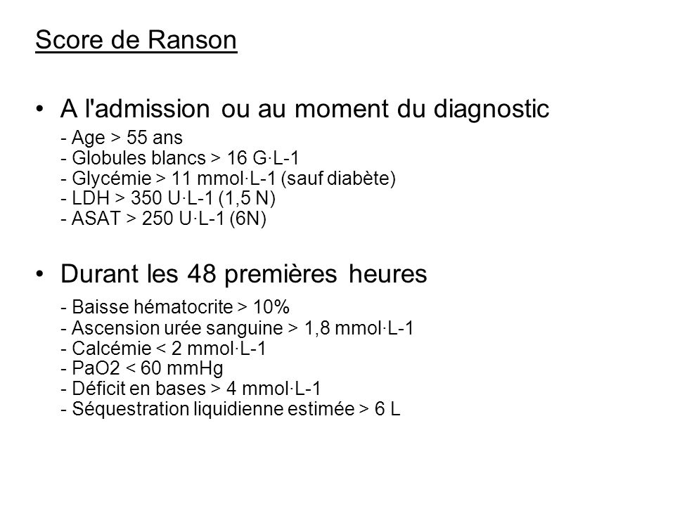 A l admission ou au moment du diagnostic