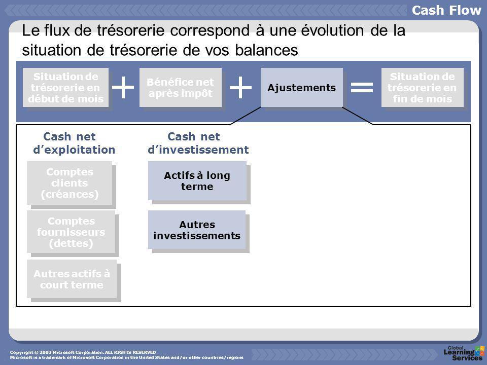 Cash Flow Le flux de trésorerie correspond à une évolution de la situation de trésorerie de vos balances.