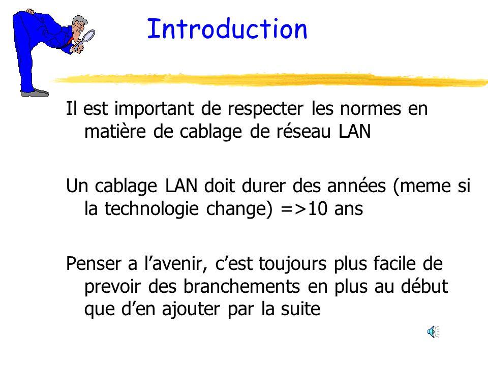 Introduction Il est important de respecter les normes en matière de cablage de réseau LAN.