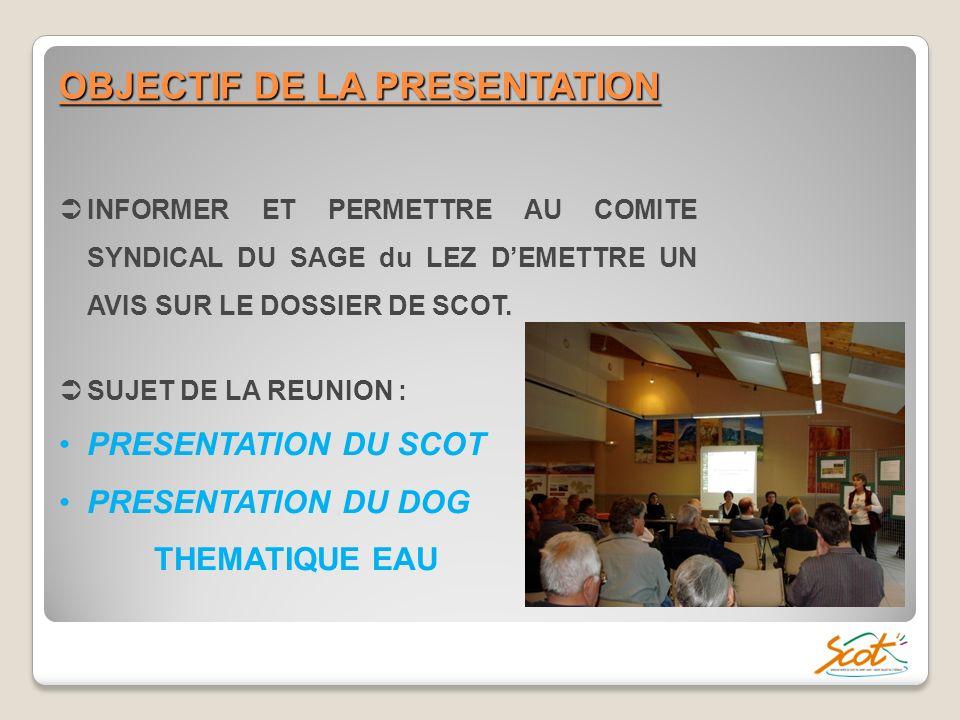 OBJECTIF DE LA PRESENTATION