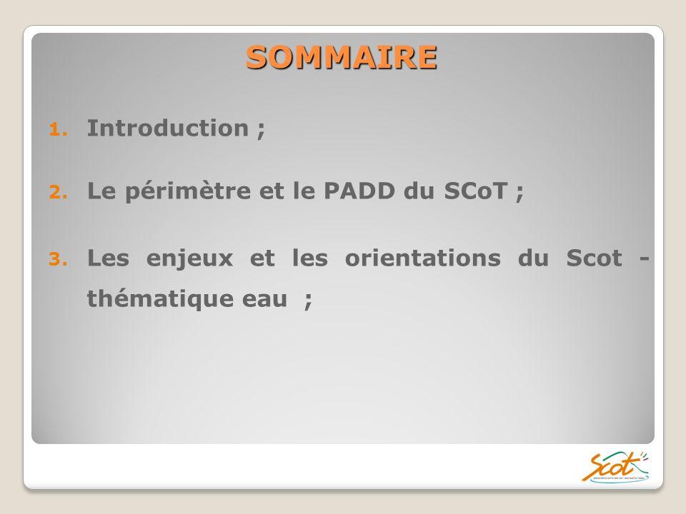 SOMMAIRE Introduction ; Le périmètre et le PADD du SCoT ;