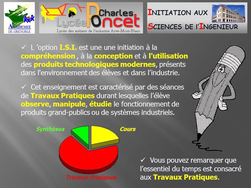  L 'option I.S.I. est une une initiation à la compréhension , à la conception et à l utilisation des produits technologiques modernes, présents dans l environnement des élèves et dans l'industrie.