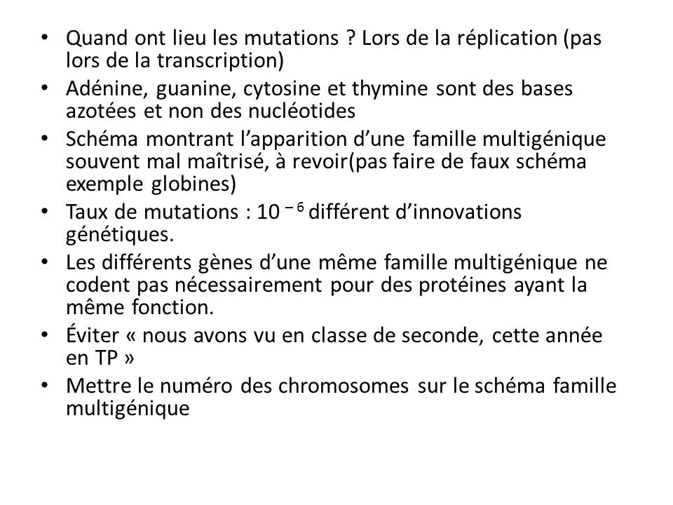Quand ont lieu les mutations