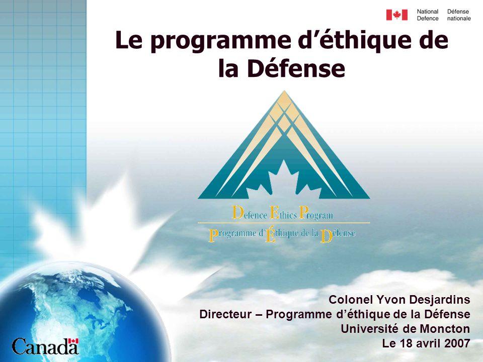Le programme d'éthique de la Défense