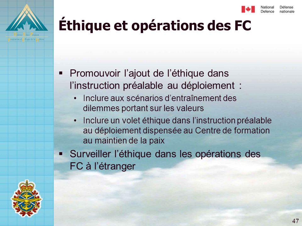 Éthique et opérations des FC