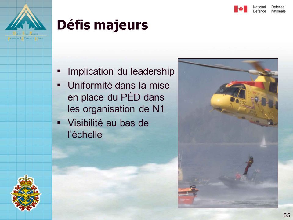 Défis majeurs Implication du leadership