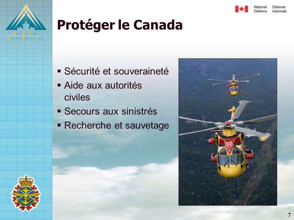 Protéger le Canada Sécurité et souveraineté Aide aux autorités civiles