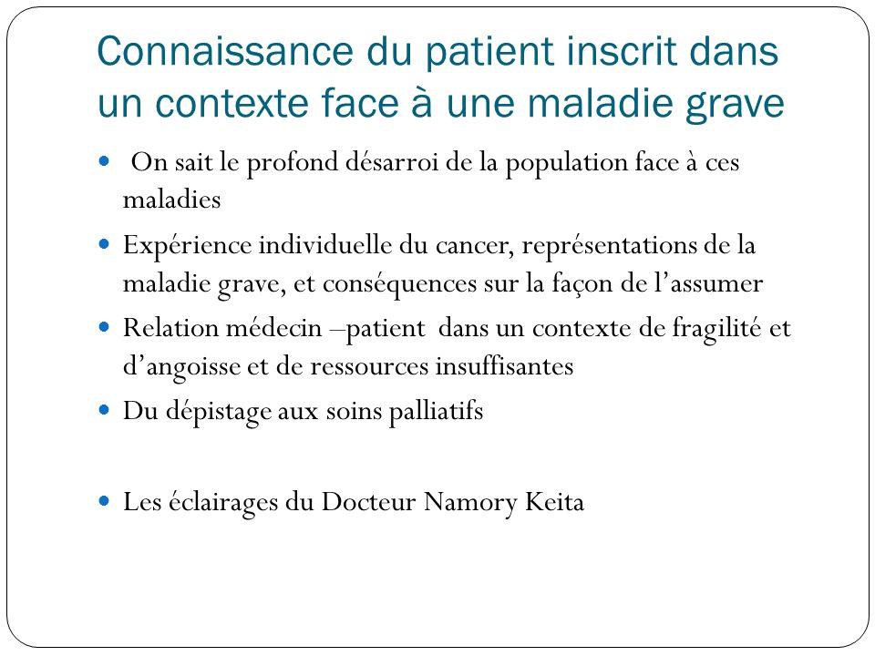 Connaissance du patient inscrit dans un contexte face à une maladie grave