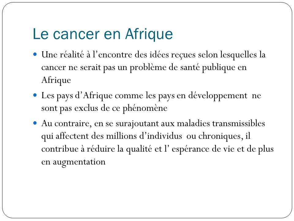 Le cancer en Afrique Une réalité à l'encontre des idées reçues selon lesquelles la cancer ne serait pas un problème de santé publique en Afrique.