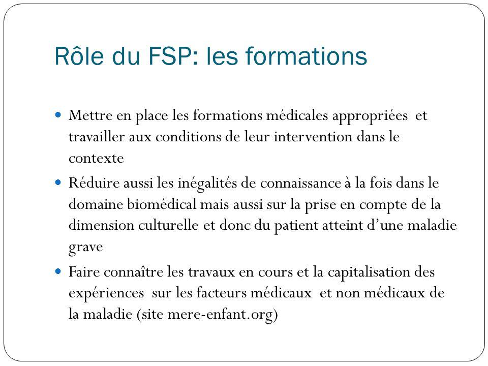 Rôle du FSP: les formations