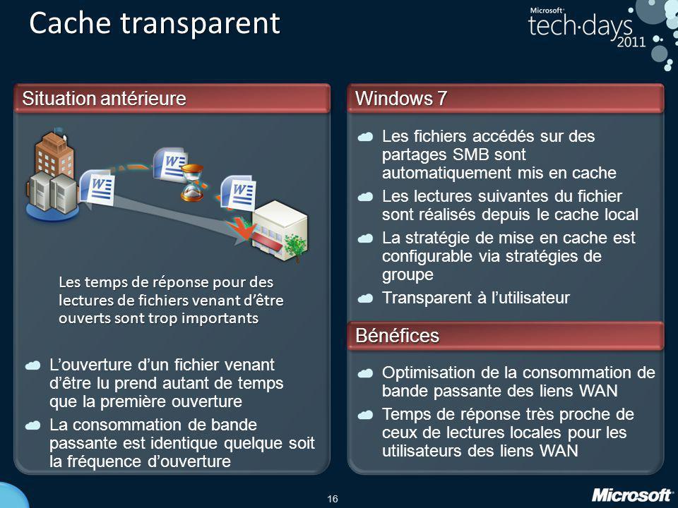 Cache transparent Situation antérieure Windows 7 Bénéfices