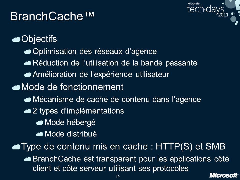 BranchCache™ Objectifs Mode de fonctionnement