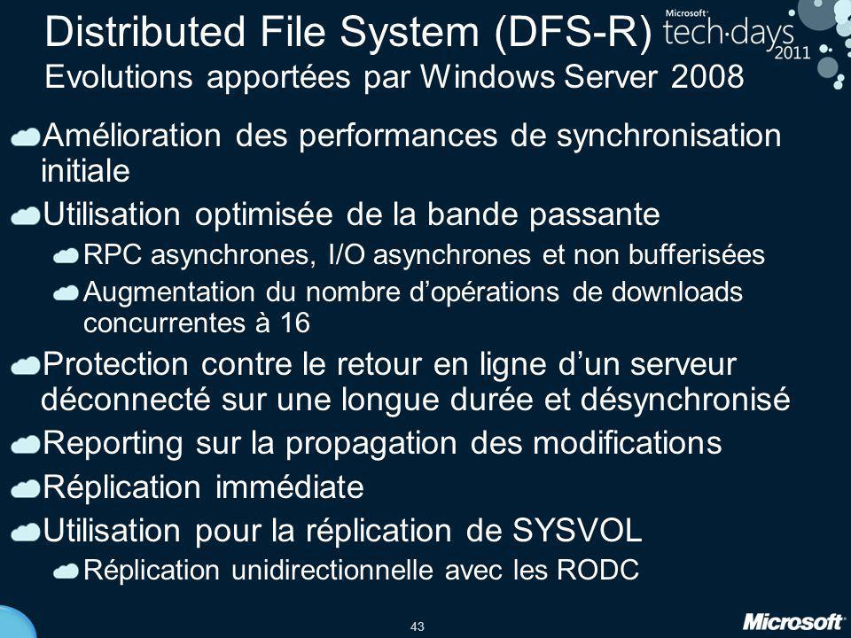 Distributed File System (DFS-R) Evolutions apportées par Windows Server 2008