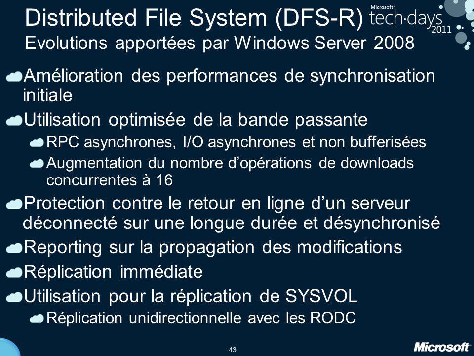 Distributed File System (DFS-R) Evolutions apportées par Windows Server 2008