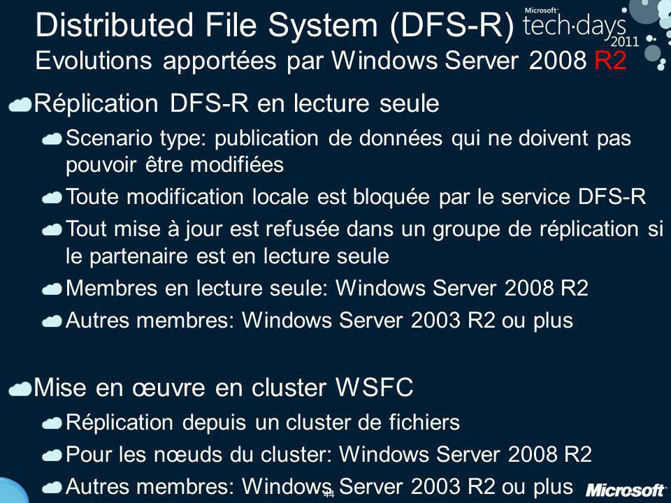 Distributed File System (DFS-R) Evolutions apportées par Windows Server 2008 R2