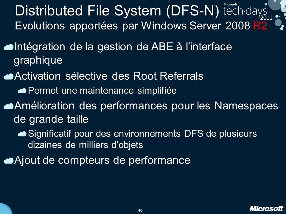 Distributed File System (DFS-N) Evolutions apportées par Windows Server 2008 R2