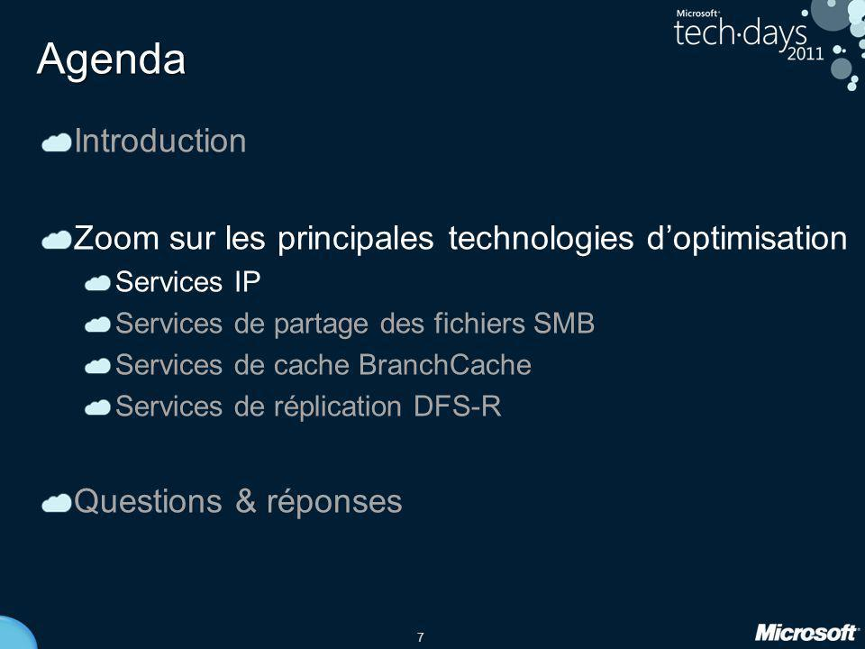 Agenda Introduction. Zoom sur les principales technologies d'optimisation. Services IP. Services de partage des fichiers SMB.
