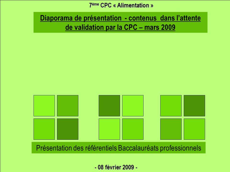 7ème CPC « Alimentation » 3 BACCALAURÉATS PROFESSIONNELS
