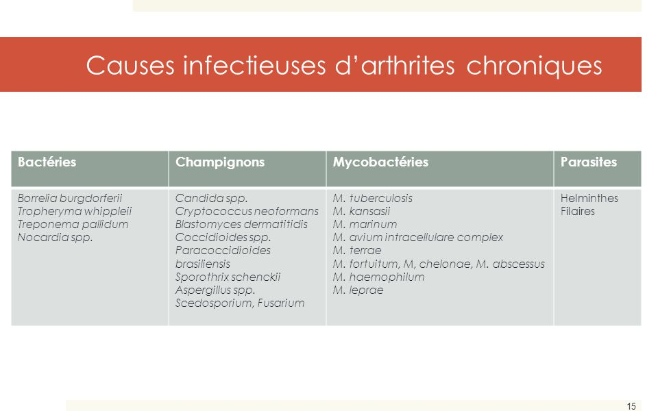 Causes infectieuses d'arthrites chroniques