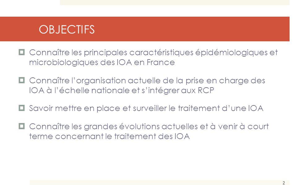 OBJECTIFS Connaître les principales caractéristiques épidémiologiques et microbiologiques des IOA en France.