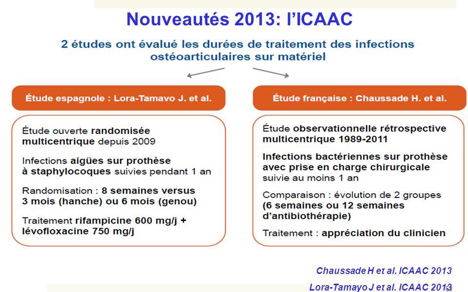 Nouveautés 2013: l'ICAAC Chaussade H et al. ICAAC 2013