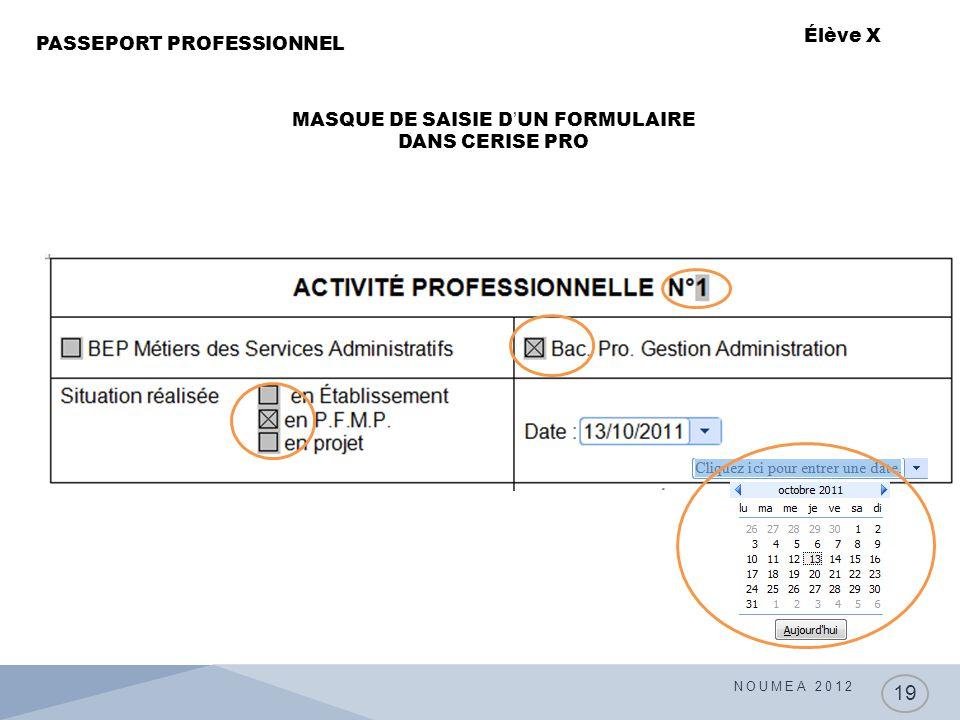 MASQUE DE SAISIE D'UN FORMULAIRE