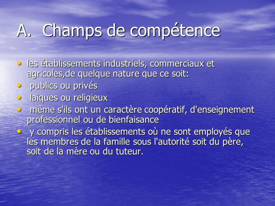 A. Champs de compétence les établissements industriels, commerciaux et agricoles,de quelque nature que ce soit: