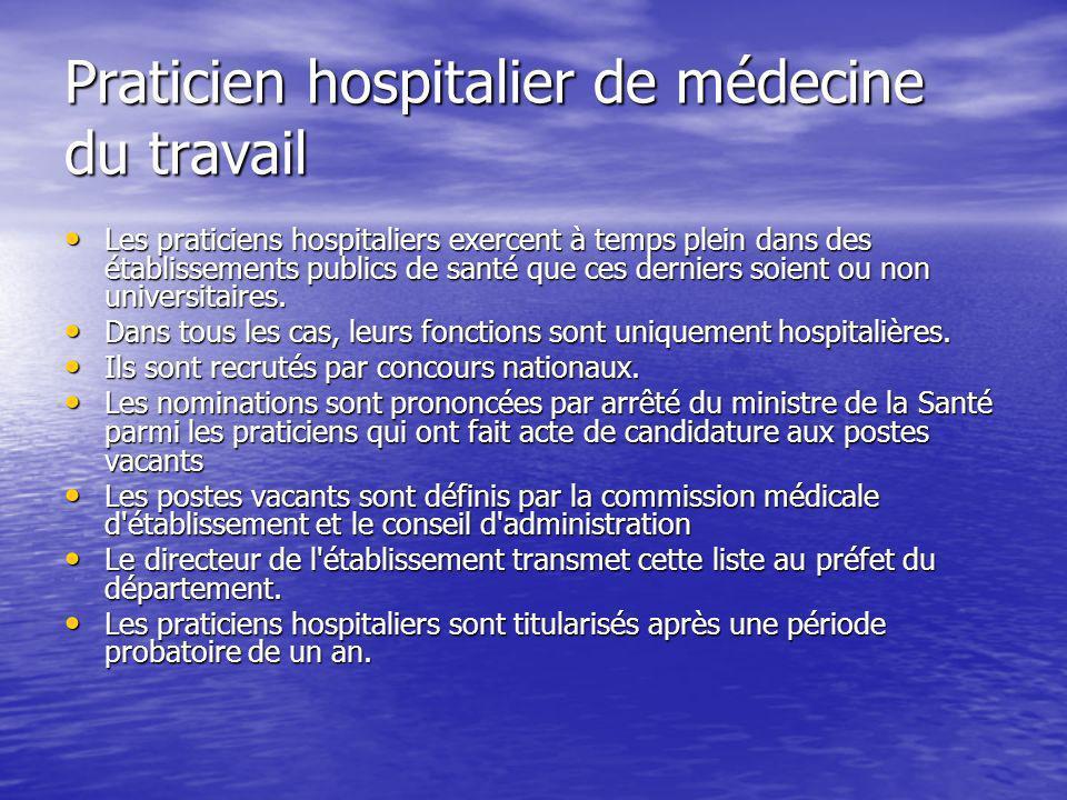 Praticien hospitalier de médecine du travail