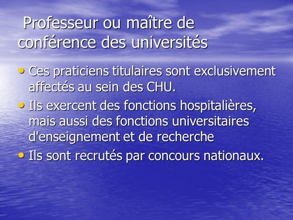 Professeur ou maître de conférence des universités