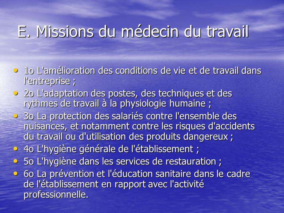 E. Missions du médecin du travail